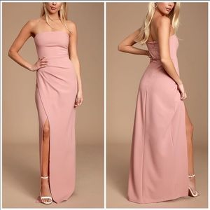 Lulus Foxy Blush Pink Strapless Gown Dress
